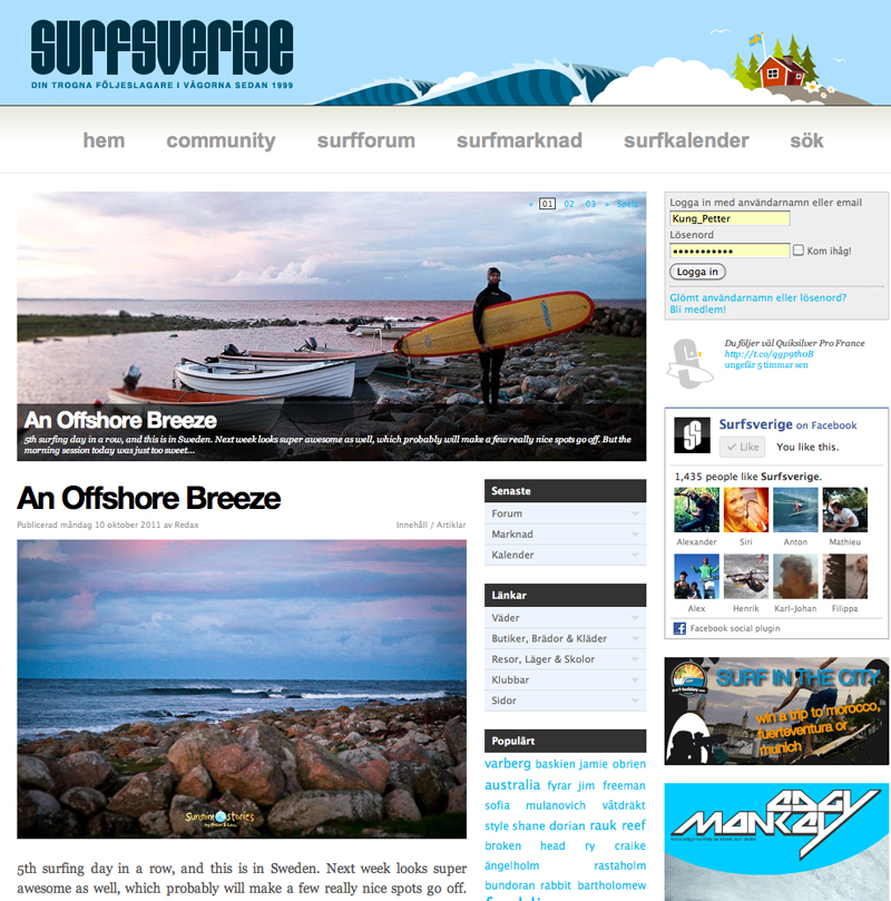 """""""An offshore breeze"""" featured on Surfsverige"""