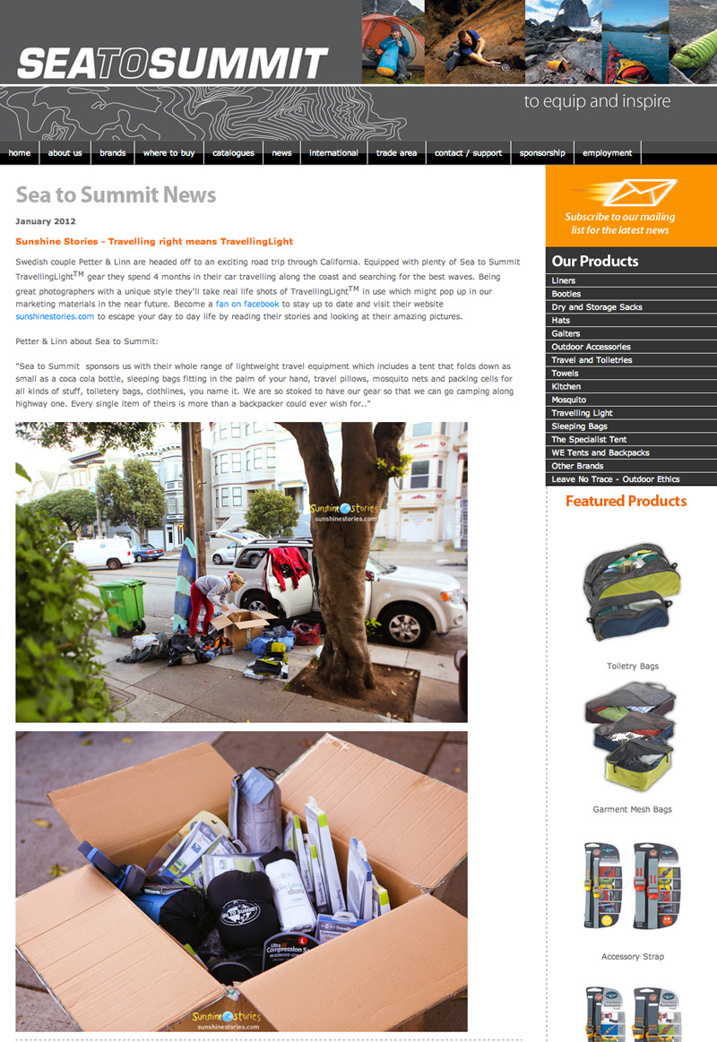 Sea to Summit & Sunshinestories – Travelling right means TravellingLight